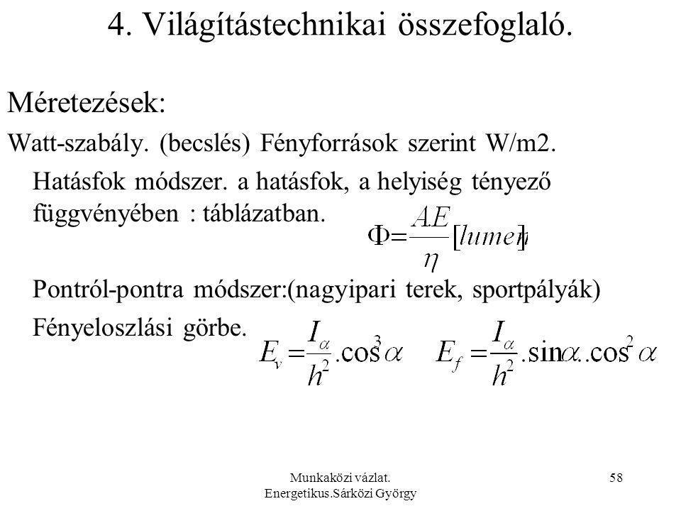 4. Világítástechnikai összefoglaló.