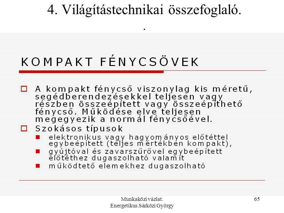 4. Világítástechnikai összefoglaló. .