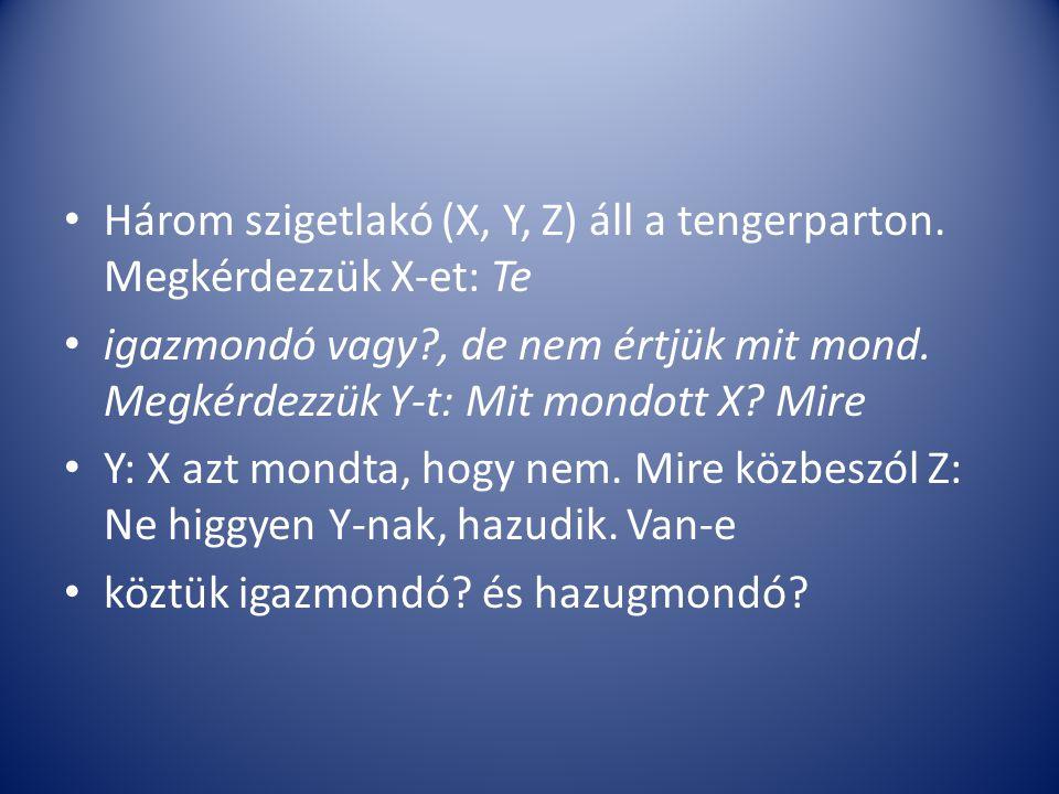 Három szigetlakó (X, Y, Z) áll a tengerparton. Megkérdezzük X-et: Te