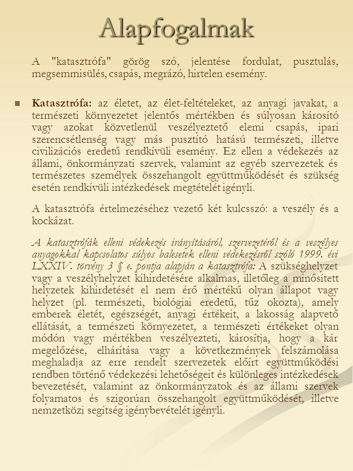 Alapfogalmak A katasztrófa görög szó, jelentése fordulat, pusztulás, megsemmisülés, csapás, megrázó, hirtelen esemény.