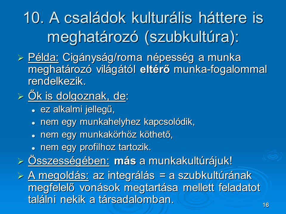 10. A családok kulturális háttere is meghatározó (szubkultúra):