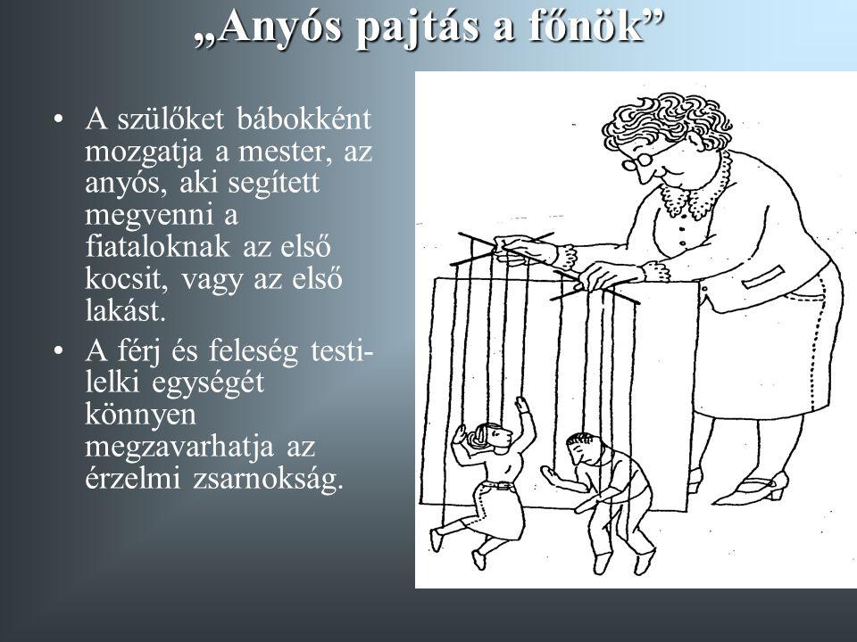 """""""Anyós pajtás a főnök A szülőket bábokként mozgatja a mester, az anyós, aki segített megvenni a fiataloknak az első kocsit, vagy az első lakást."""