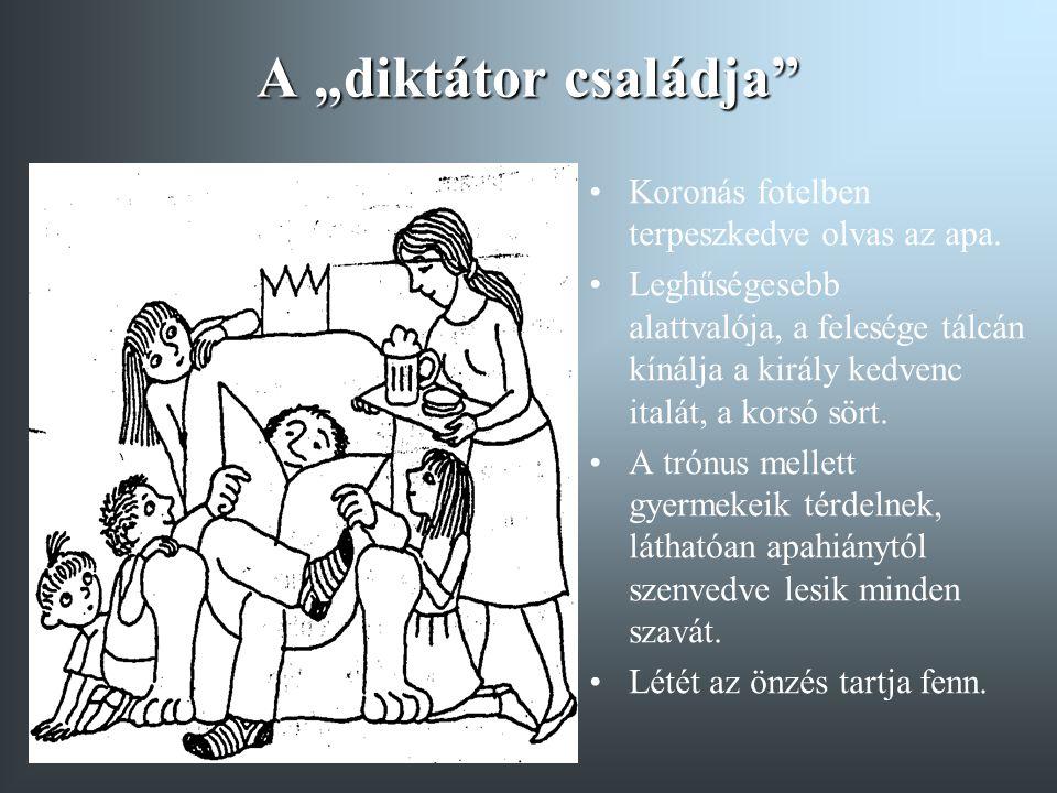 """A """"diktátor családja Koronás fotelben terpeszkedve olvas az apa."""