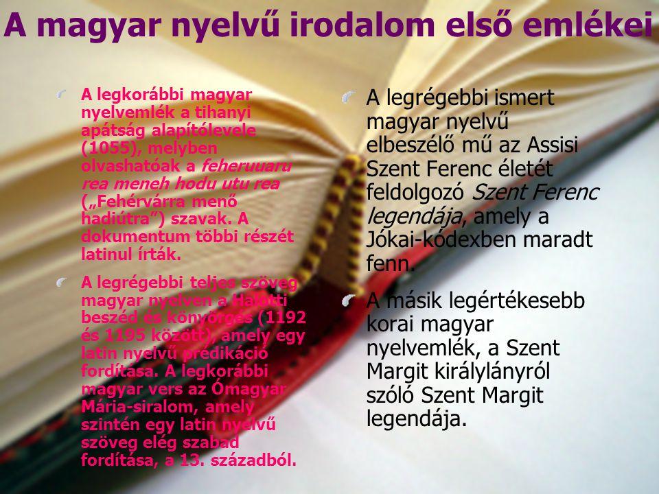 A magyar nyelvű irodalom első emlékei