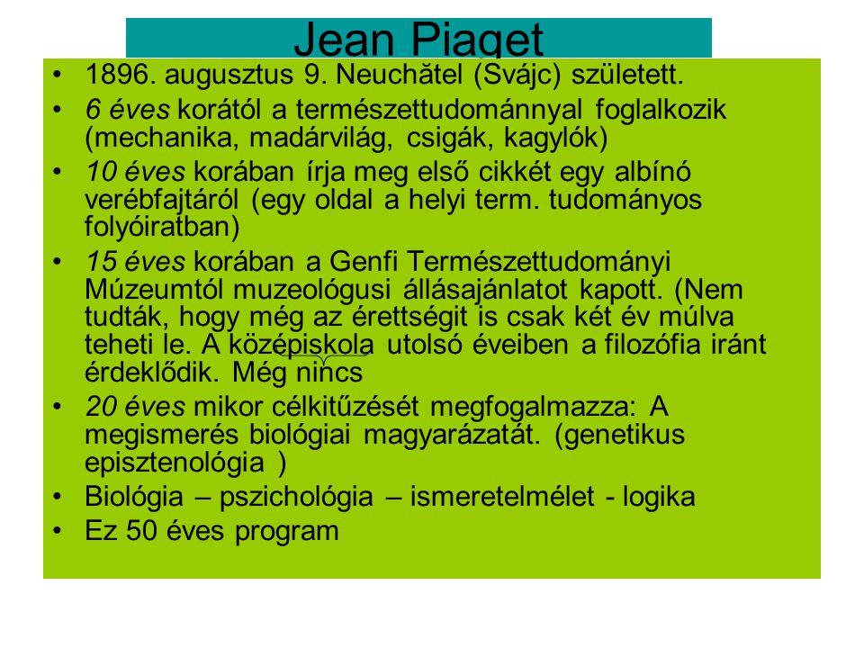 Jean Piaget 1896. augusztus 9. Neuchătel (Svájc) született.