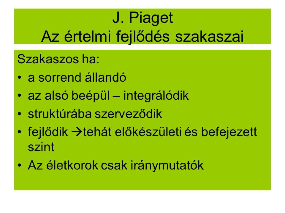 J. Piaget Az értelmi fejlődés szakaszai