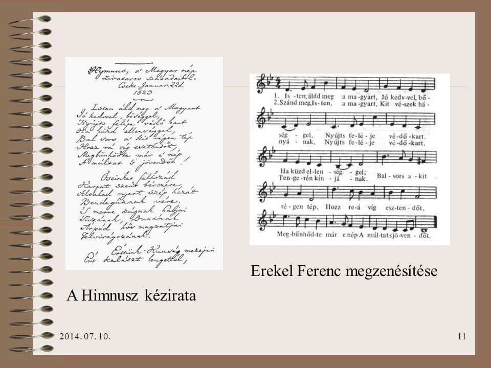 Erekel Ferenc megzenésítése