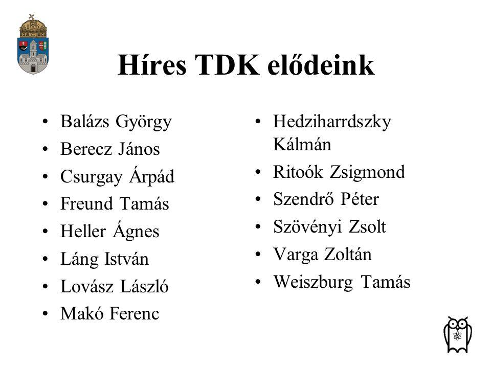 Híres TDK elődeink Balázs György Berecz János Csurgay Árpád