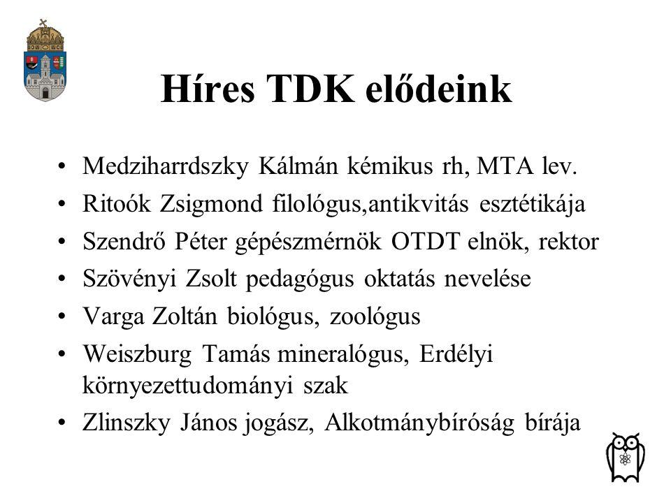 Híres TDK elődeink Medziharrdszky Kálmán kémikus rh, MTA lev.