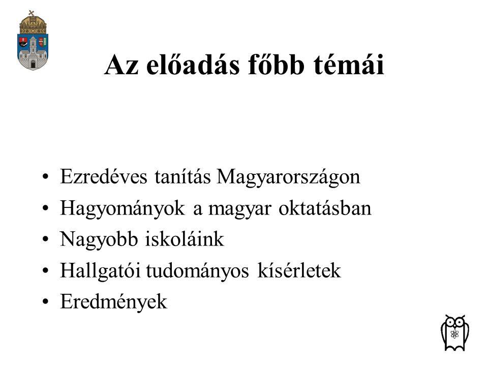Az előadás főbb témái Ezredéves tanítás Magyarországon
