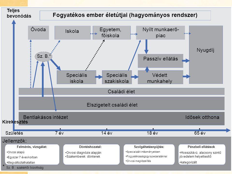 Fogyatékos ember életútjai (hagyományos rendszer) Szolgáltatásnyújtás: