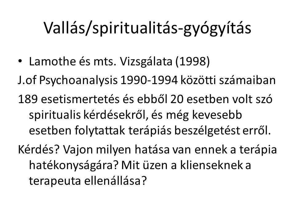 Vallás/spiritualitás-gyógyítás