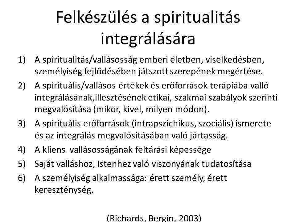 Felkészülés a spiritualitás integrálására