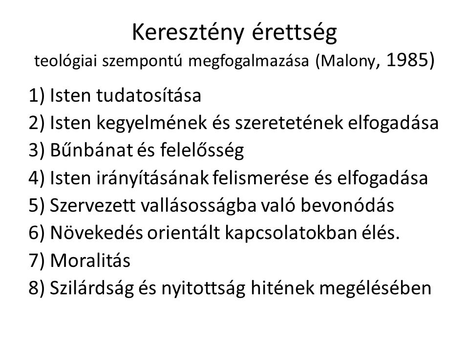 Keresztény érettség teológiai szempontú megfogalmazása (Malony, 1985)