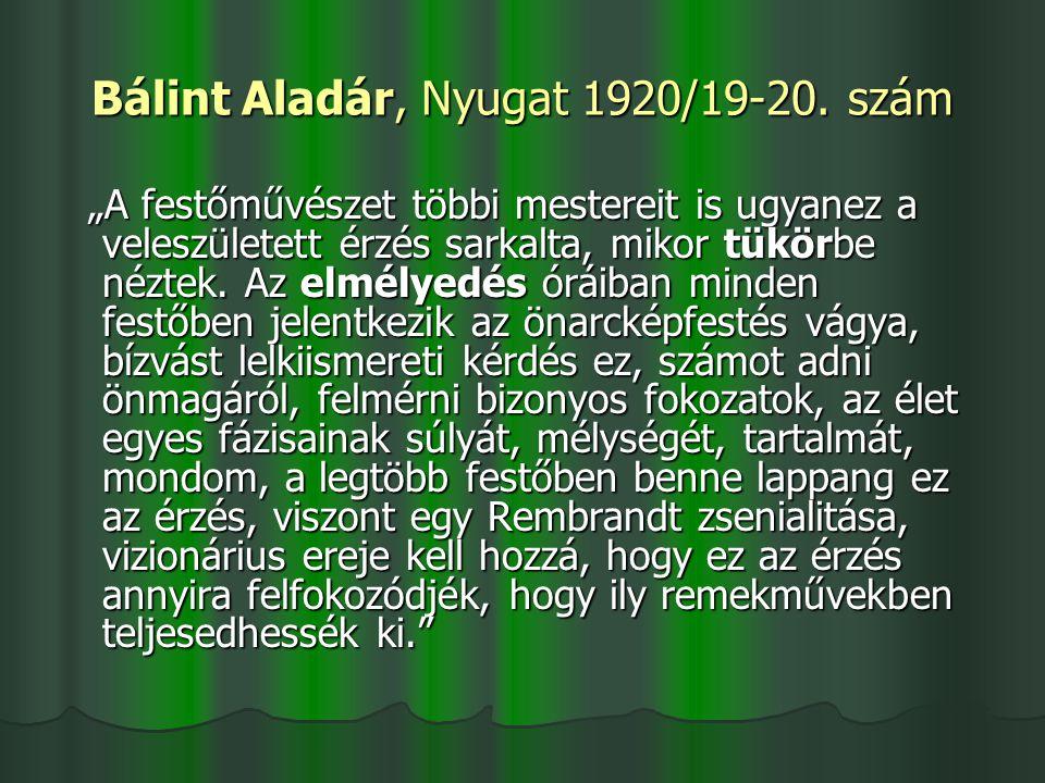 Bálint Aladár, Nyugat 1920/19-20. szám