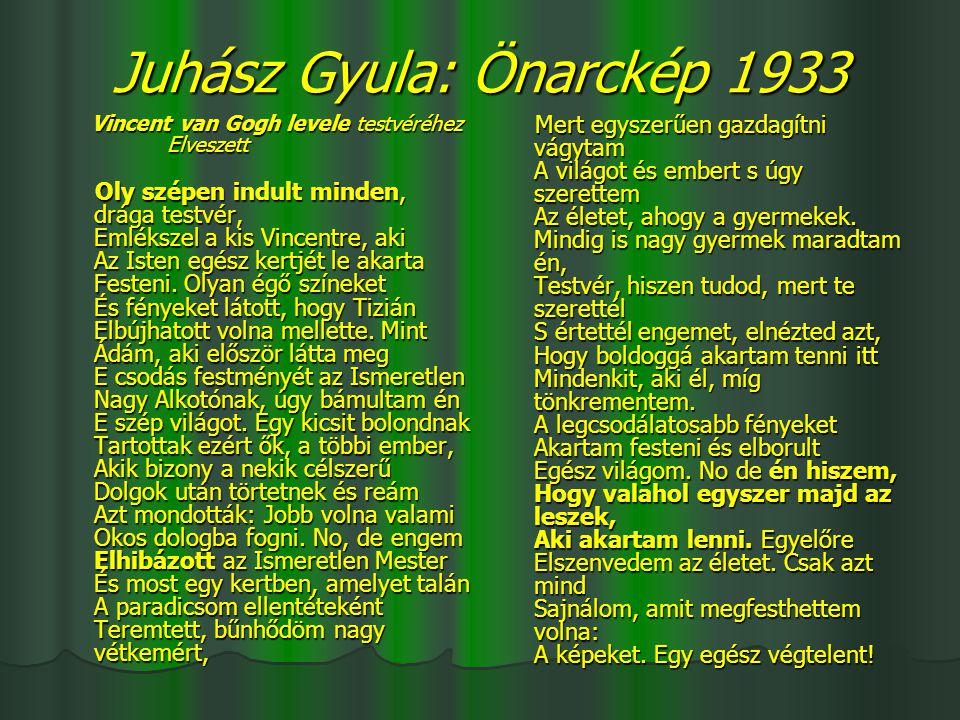 Juhász Gyula: Önarckép 1933