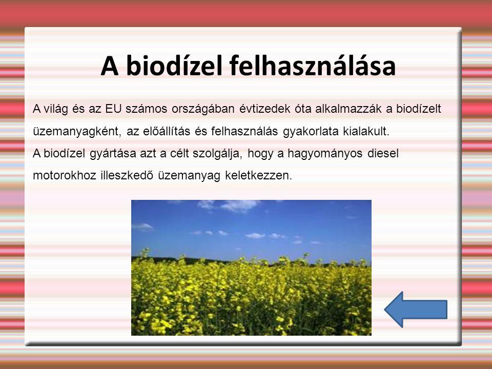 A biodízel felhasználása