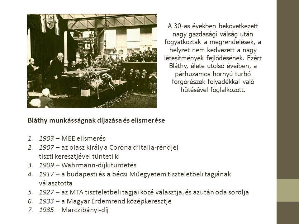 Bláthy munkásságnak díjazása és elismerése 1903 – MEE elismerés