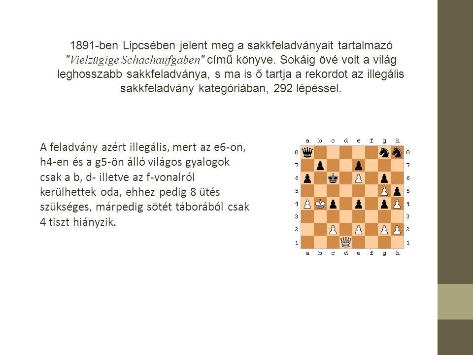 1891-ben Lipcsében jelent meg a sakkfeladványait tartalmazó Vielzügige Schachaufgaben című könyve. Sokáig övé volt a világ leghosszabb sakkfeladványa, s ma is ő tartja a rekordot az illegális sakkfeladvány kategóriában, 292 lépéssel.