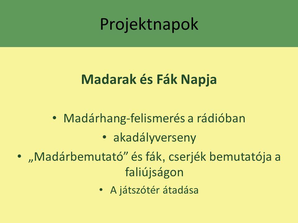 Projektnapok Madarak és Fák Napja Madárhang-felismerés a rádióban