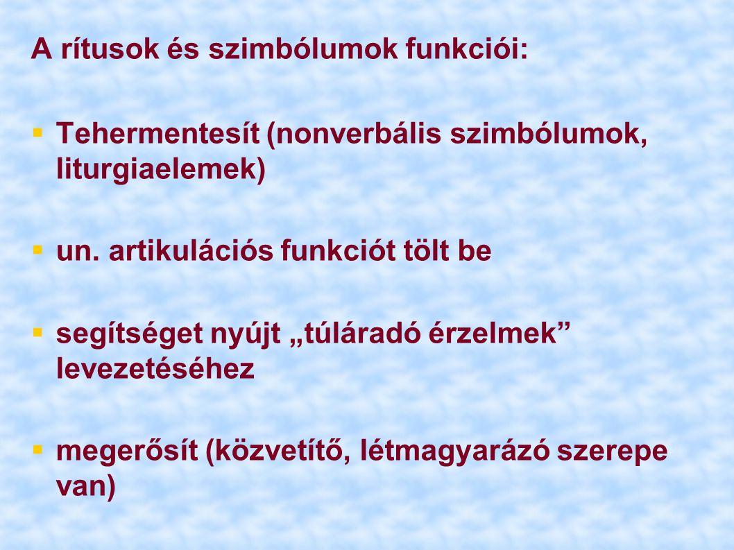 A rítusok és szimbólumok funkciói: