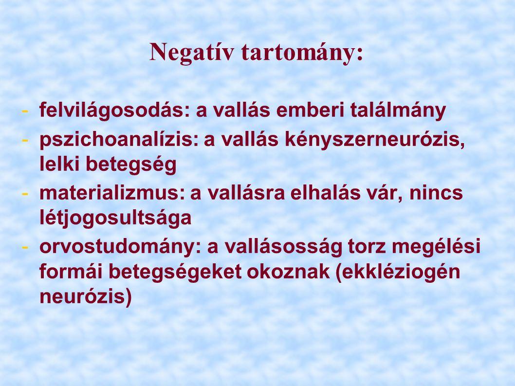 Negatív tartomány: felvilágosodás: a vallás emberi találmány