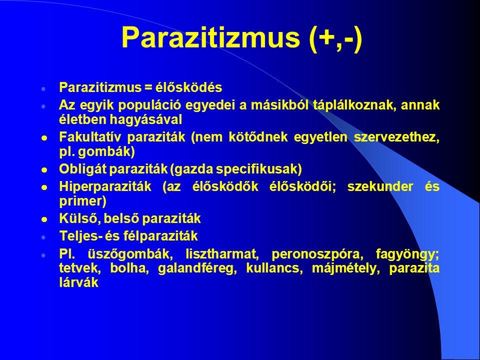 Parazitizmus (+,-) Parazitizmus = élősködés