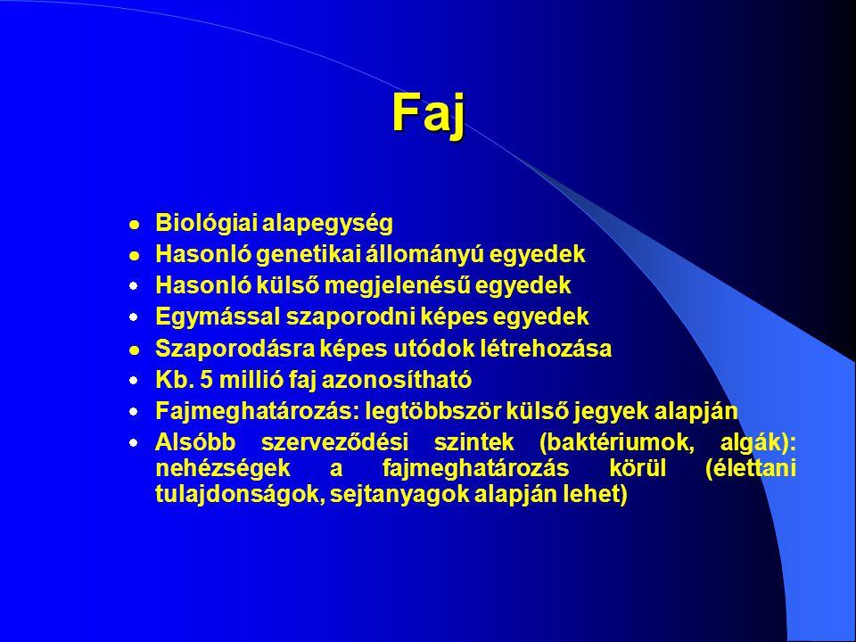 Faj  Biológiai alapegység  Hasonló genetikai állományú egyedek