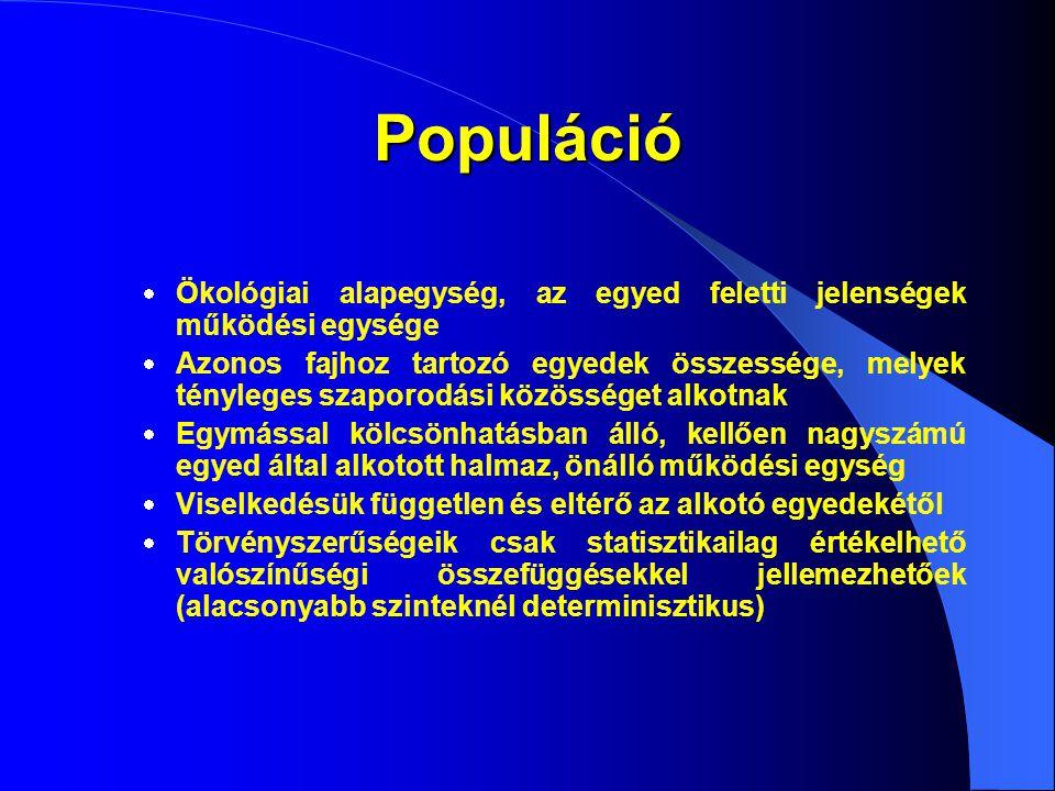 Populáció Ökológiai alapegység, az egyed feletti jelenségek működési egysége.