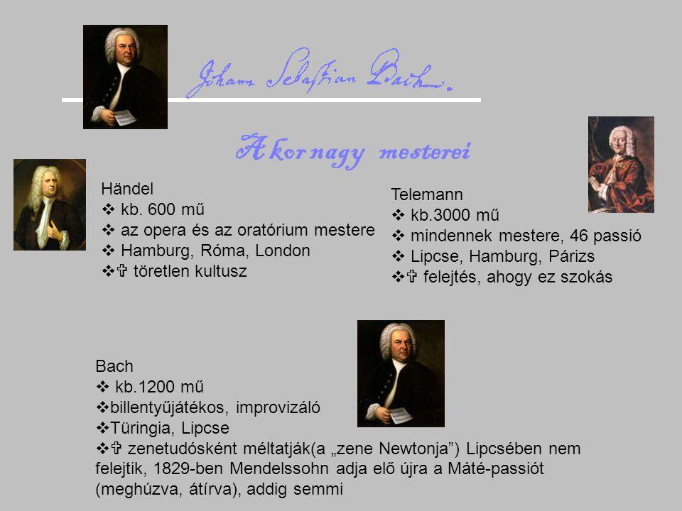 A kor nagy mesterei Händel Telemann kb. 600 mű kb.3000 mű