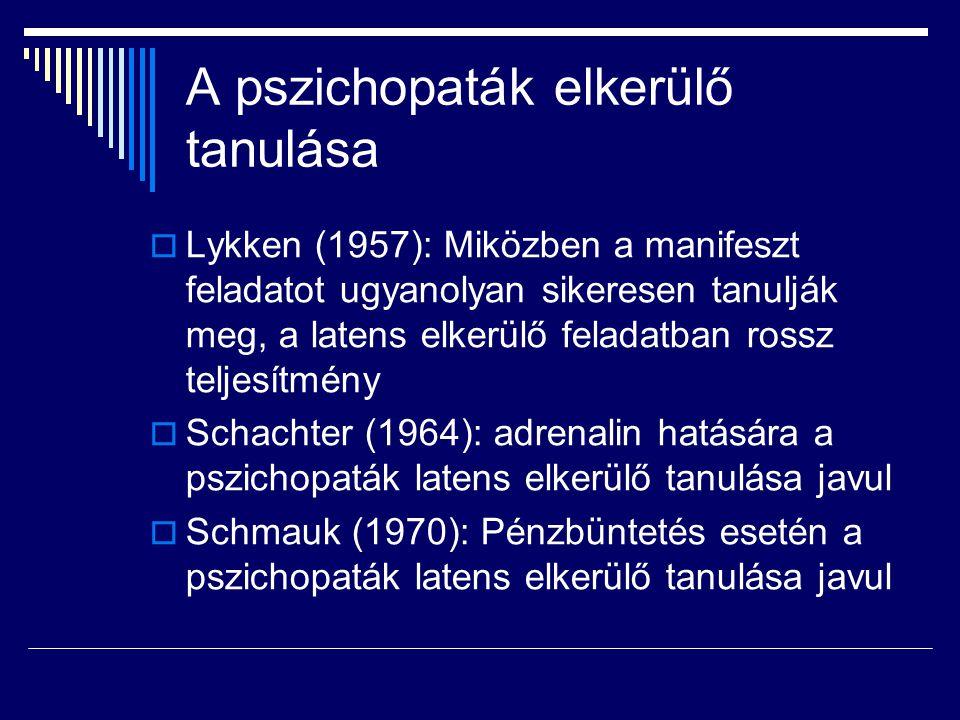 A pszichopaták elkerülő tanulása
