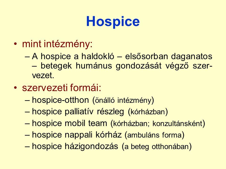 Hospice mint intézmény: szervezeti formái: