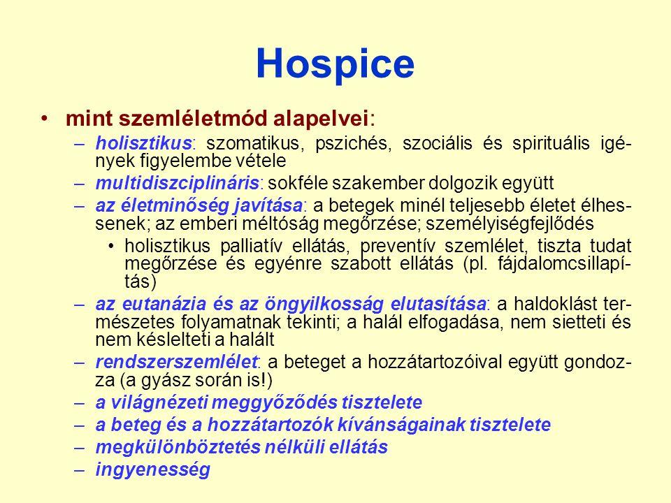 Hospice mint szemléletmód alapelvei: