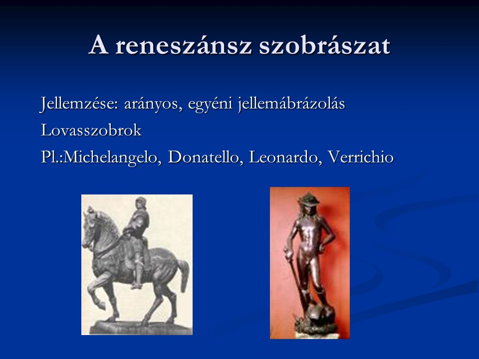 A reneszánsz szobrászat