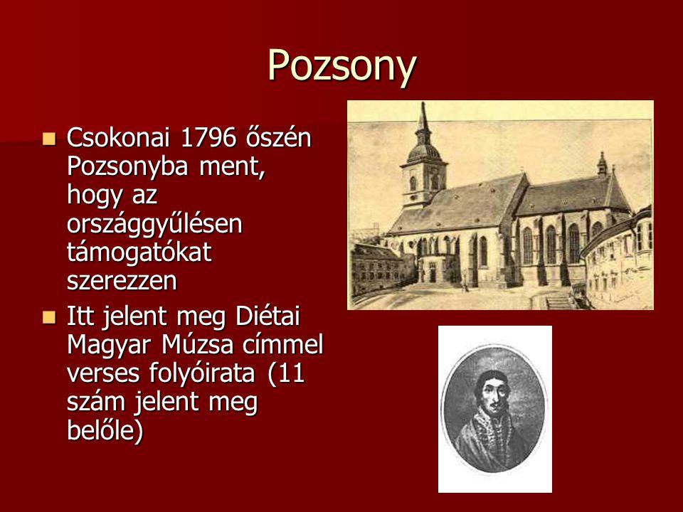 Pozsony Csokonai 1796 őszén Pozsonyba ment, hogy az országgyűlésen támogatókat szerezzen.