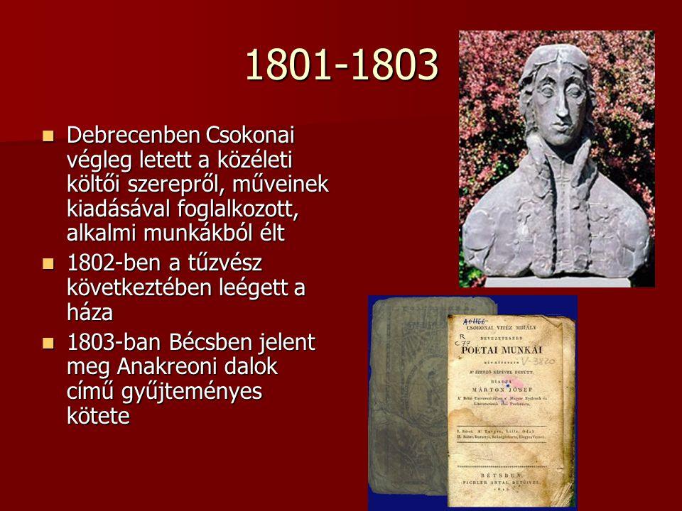 1801-1803 Debrecenben Csokonai végleg letett a közéleti költői szerepről, műveinek kiadásával foglalkozott, alkalmi munkákból élt.
