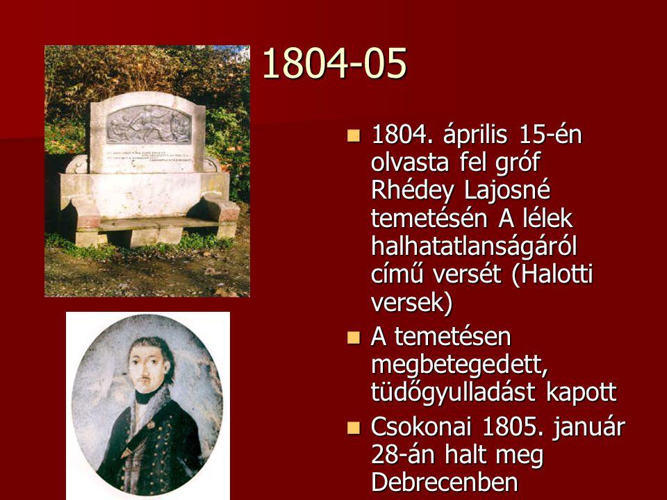 1804-05 1804. április 15-én olvasta fel gróf Rhédey Lajosné temetésén A lélek halhatatlanságáról című versét (Halotti versek)
