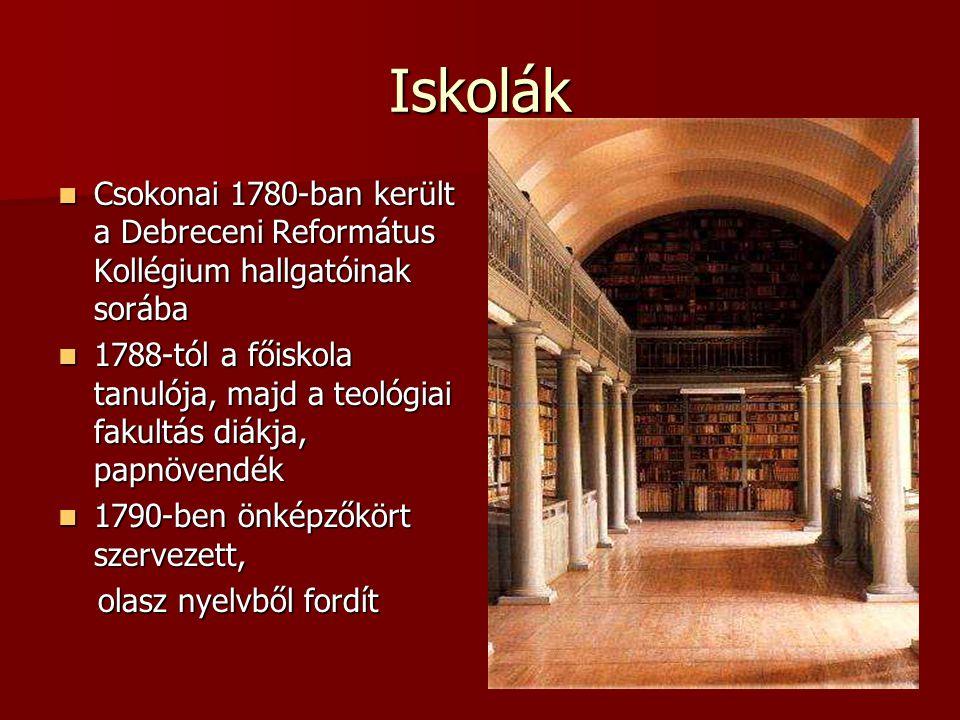 Iskolák Csokonai 1780-ban került a Debreceni Református Kollégium hallgatóinak sorába.