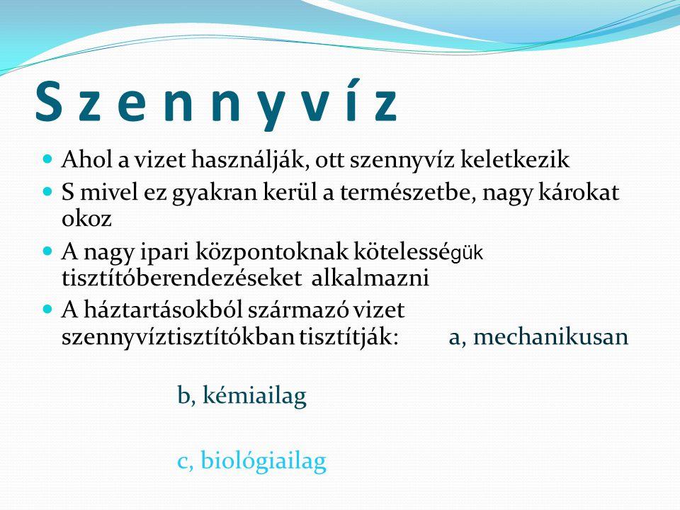 S z e n n y v í z Ahol a vizet használják, ott szennyvíz keletkezik