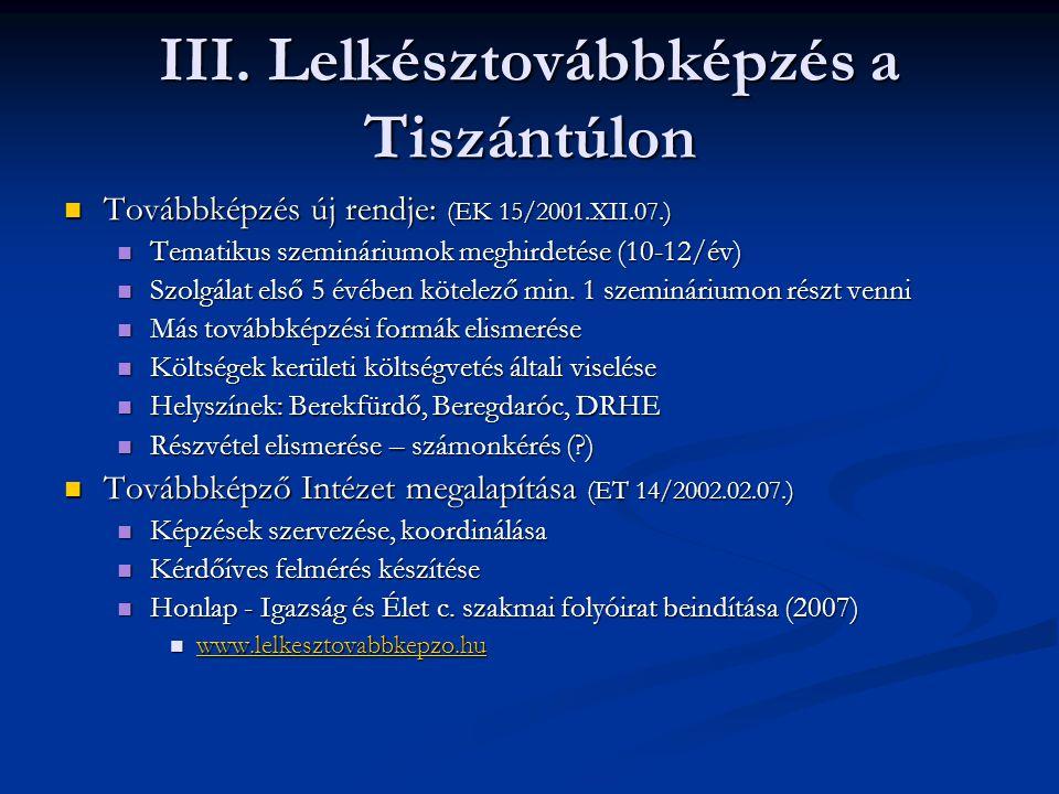 III. Lelkésztovábbképzés a Tiszántúlon
