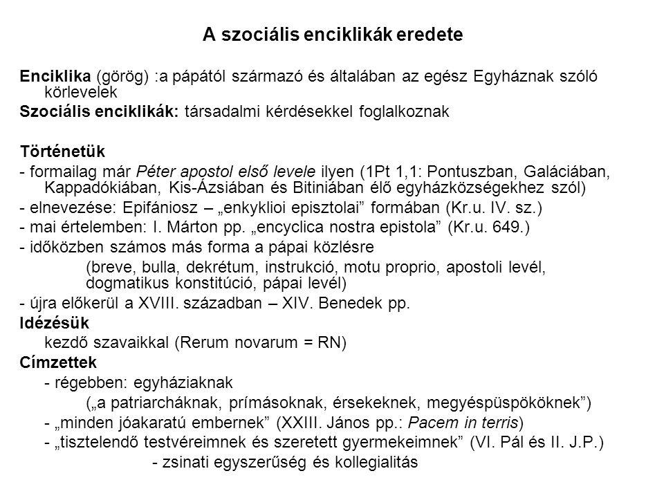 A szociális enciklikák eredete