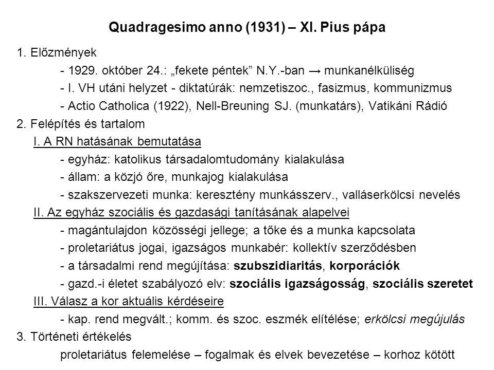 Quadragesimo anno (1931) – XI. Pius pápa