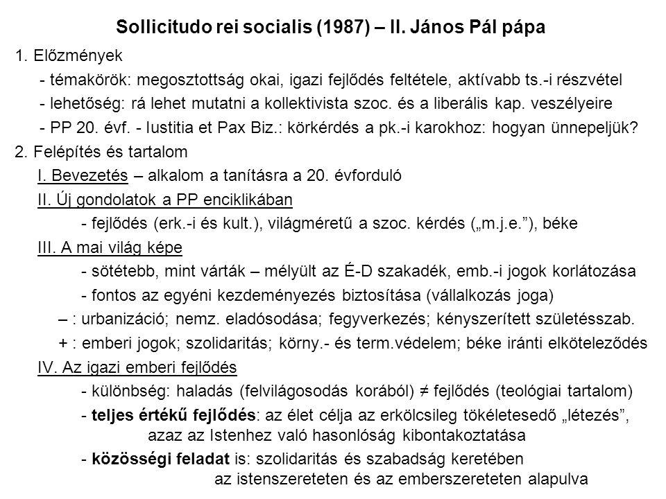 Sollicitudo rei socialis (1987) – II. János Pál pápa