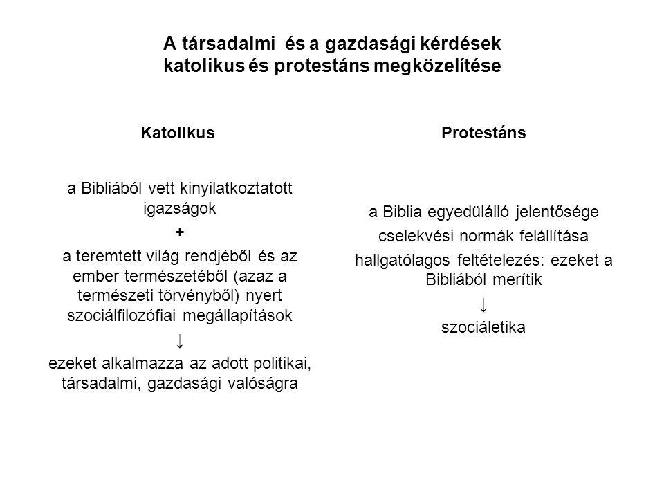 A társadalmi és a gazdasági kérdések katolikus és protestáns megközelítése