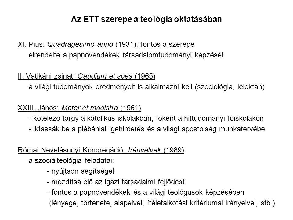 Az ETT szerepe a teológia oktatásában