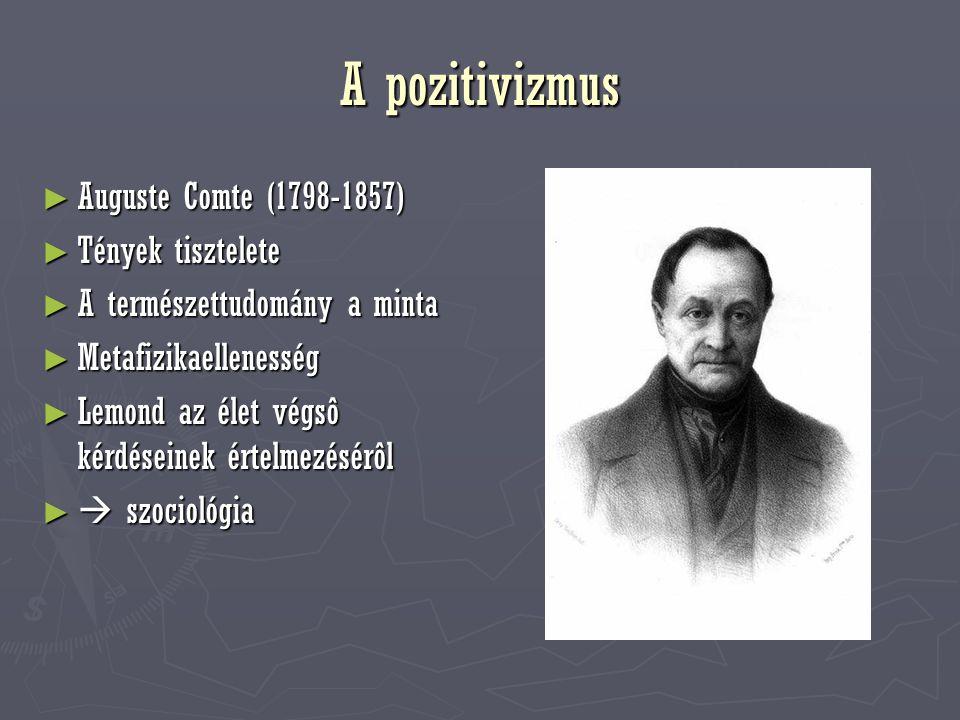 A pozitivizmus Auguste Comte (1798-1857) Tények tisztelete