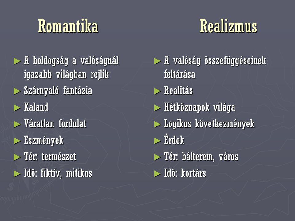 Romantika Realizmus A boldogság a valóságnál igazabb világban rejlik