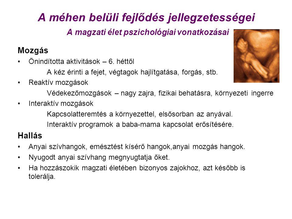 A méhen belüli fejlődés jellegzetességei A magzati élet pszichológiai vonatkozásai