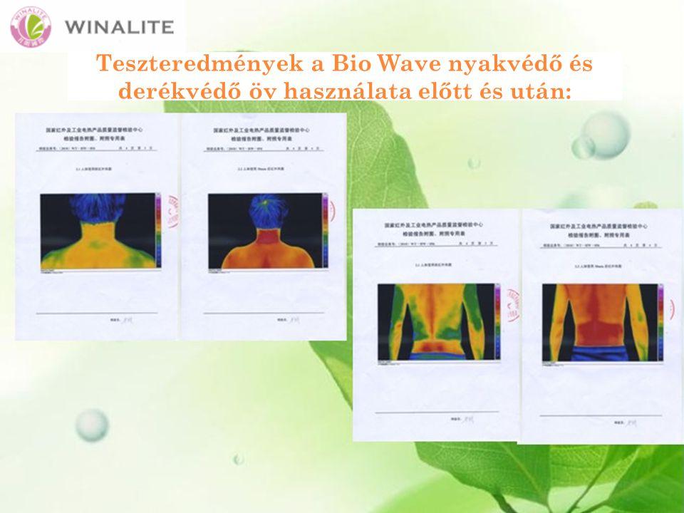 Teszteredmények a Bio Wave nyakvédő és derékvédő öv használata előtt és után: