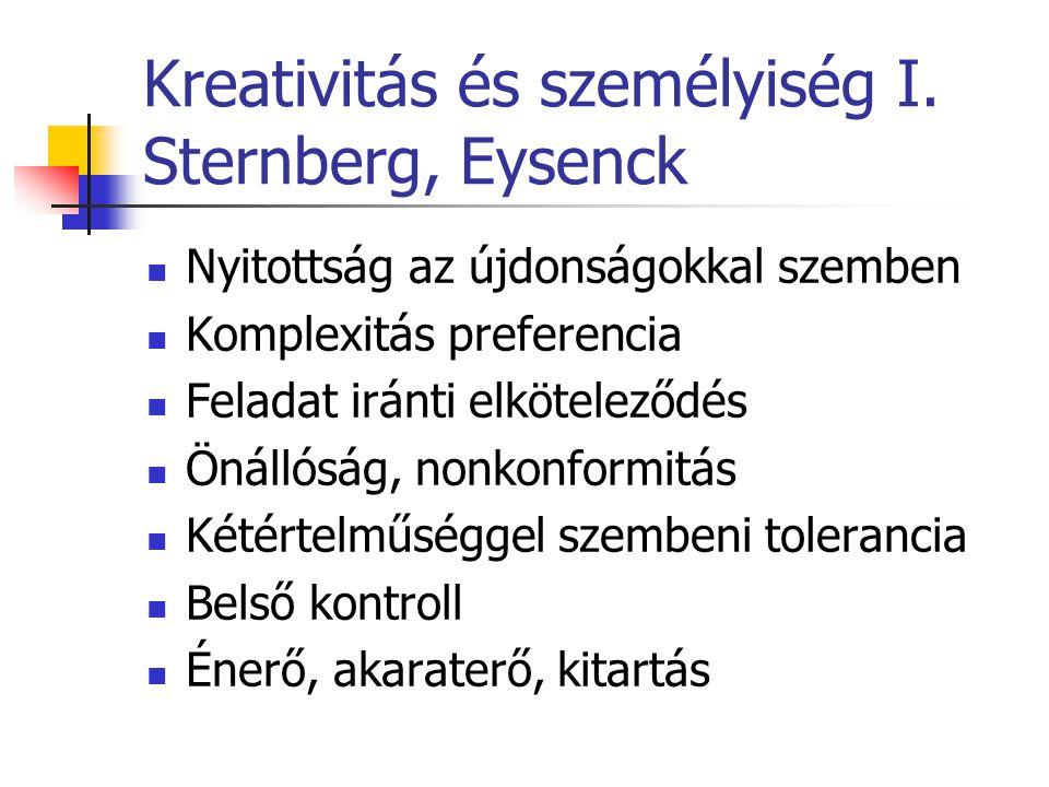 Kreativitás és személyiség I. Sternberg, Eysenck
